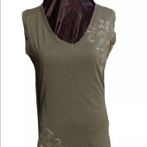 Harley Davidson Women's sleeveless Green Tshirt